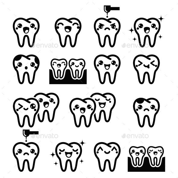 Kawaii Teeth Characters - Health/Medicine Conceptual