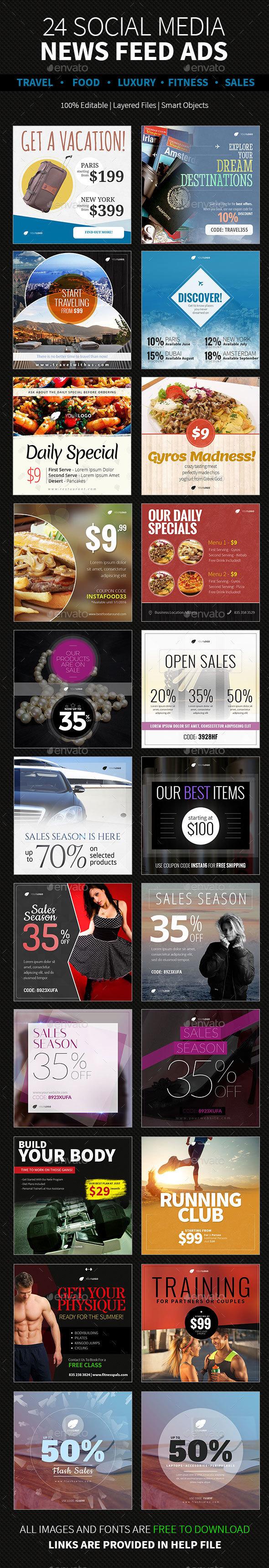 24 News Feed Ads | Category Based - Social Media Web Elements