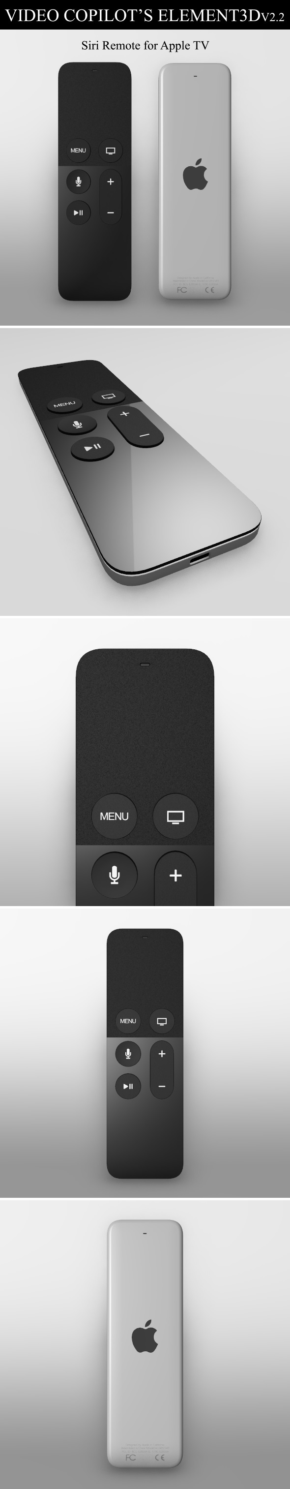Element3D - Siri Remote for Apple TV - 3DOcean Item for Sale