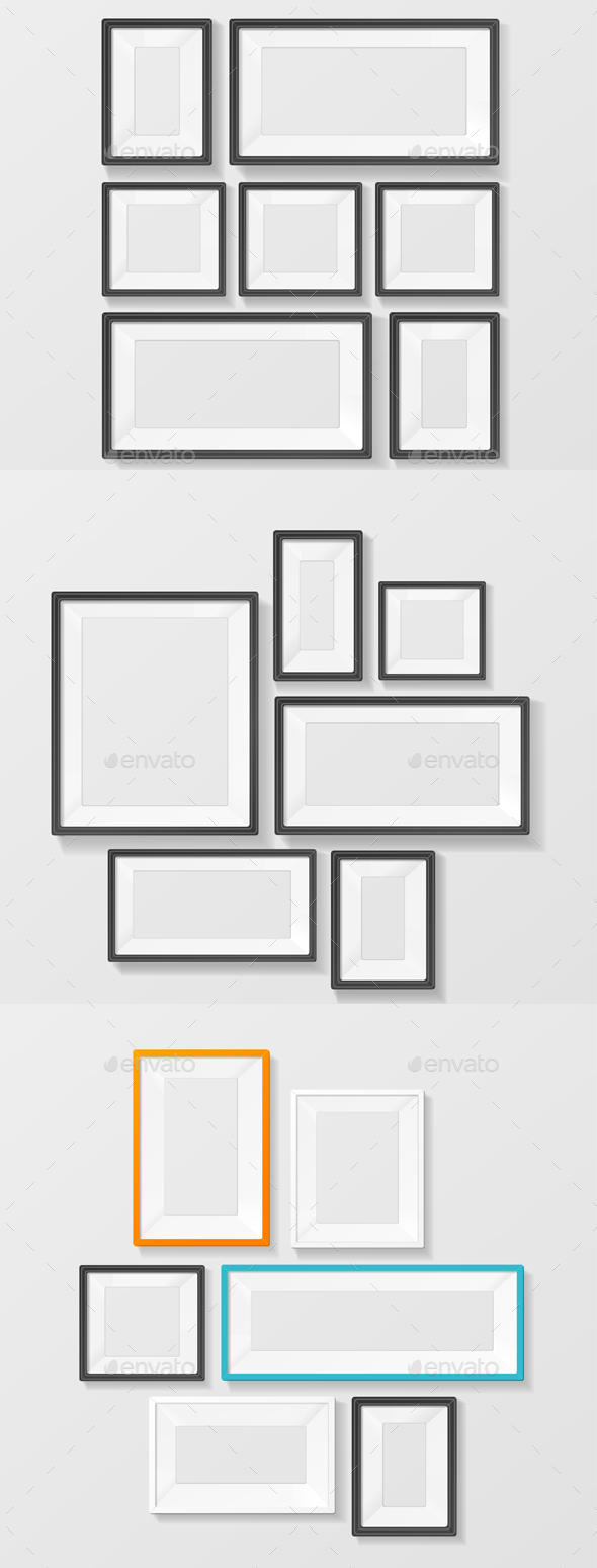 Colorful Picture Frame Template Set. Vector - Decorative Vectors
