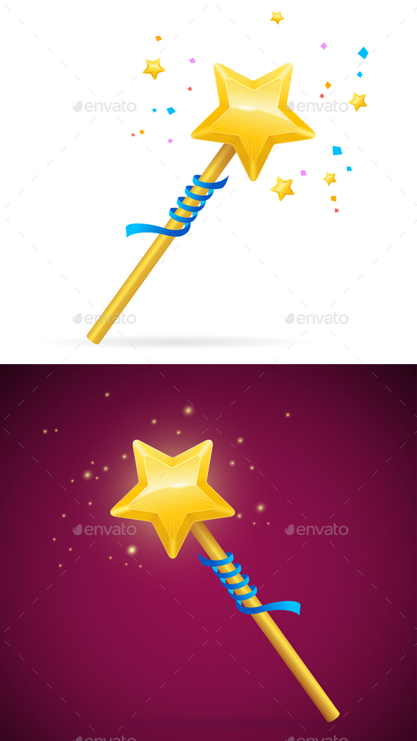 Magic Wand with Shining Star - Miscellaneous Vectors