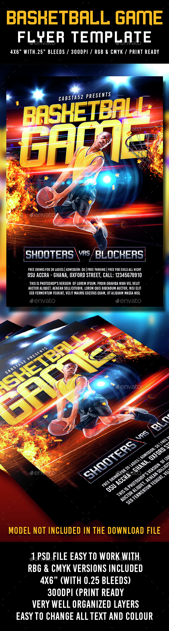 Basketball Game Flyer Template - Flyers Print Templates