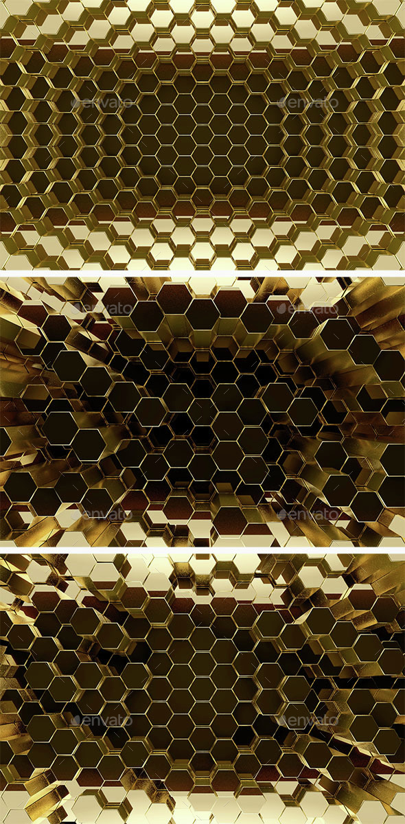 Gold Hexagon Bars Background - Abstract Backgrounds
