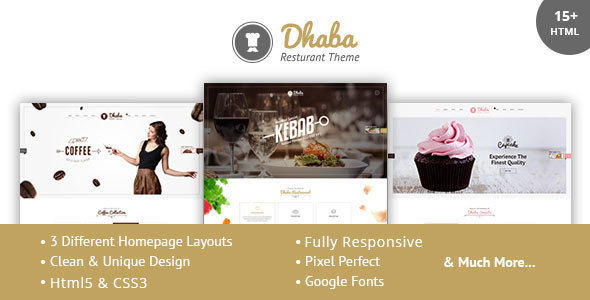 Dhaba – Restaurant, Coffee and Cake Shop HTML Template