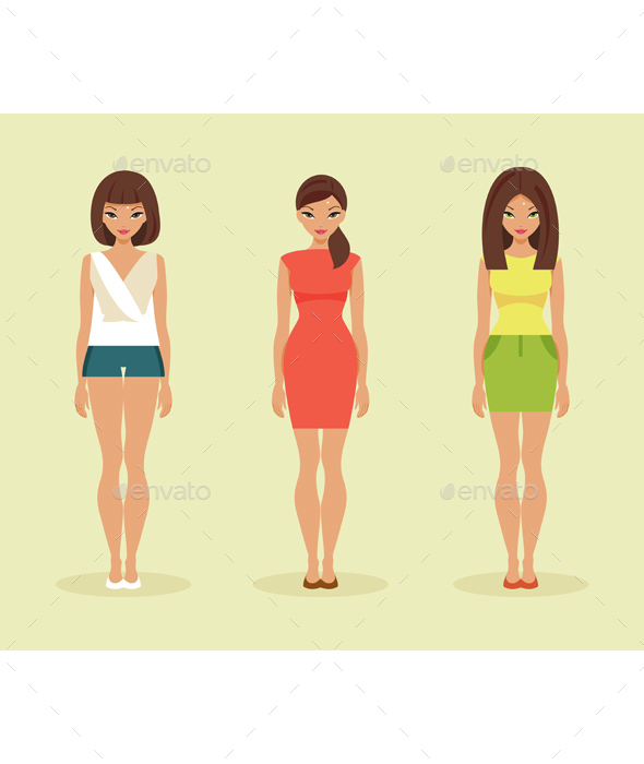 Three Girls in Summer Clothes - People Characters