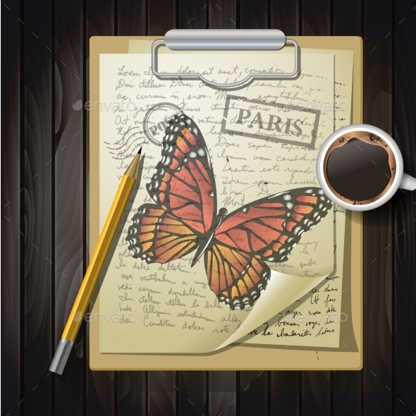 Table Top With Sketching Paper And Butterfly - Tattoos Vectors