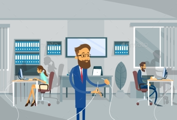 Business Man Holding Cable Office Connection - Concepts Business