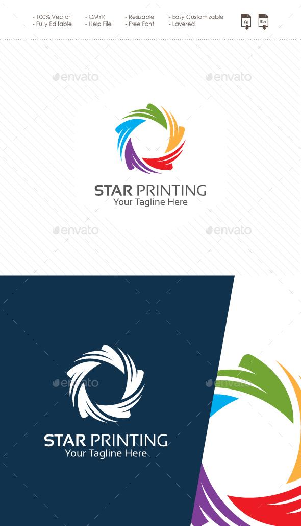 Star Printing Logo - Symbols Logo Templates