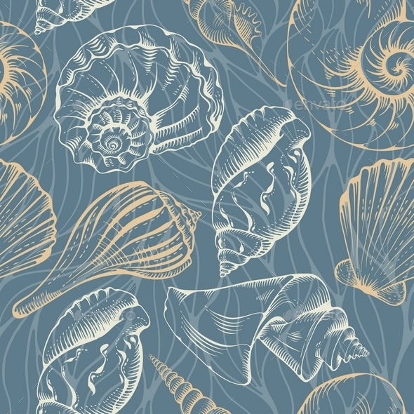 Shell Seamless Pattern - Backgrounds Decorative