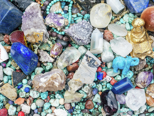 Stones and minerals at the flee market stall - Stock Photo - Images