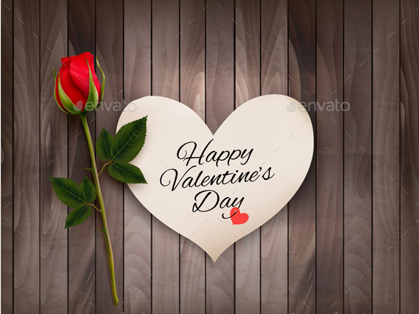 Happy Valentines Day Background With A Note On A Vector - Valentines Seasons/Holidays