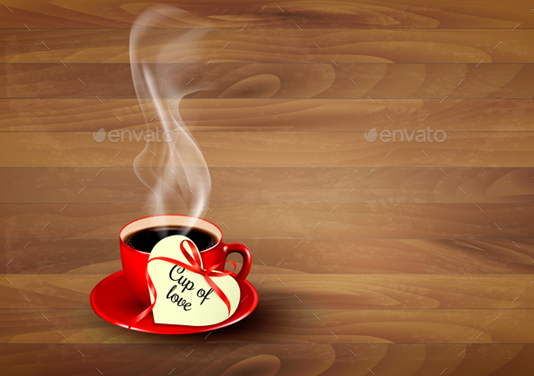 Red Cup Of Coffee With A Heart Shaped Valentine Vector - Valentines Seasons/Holidays