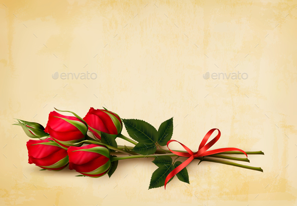 Happy Valentines Day Background Single Red Roses Vector - Weddings Seasons/Holidays