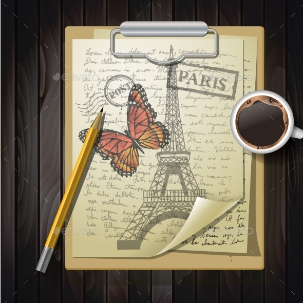 Table Top With Sketching Paper And Butterfly - Backgrounds Decorative