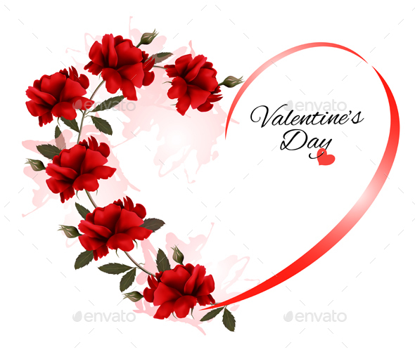 Valentines Day Background With A Bouquet Of Red Roses - Valentines Seasons/Holidays