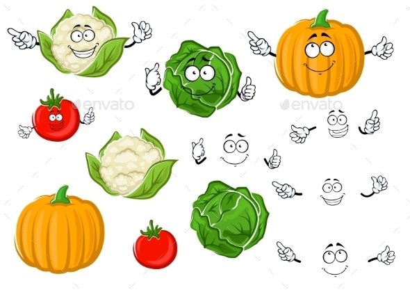 Cartoon Tomato, Cabbage, Pumpkin And Cauliflower - Food Objects
