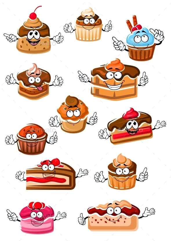 Cartoon Happy Pastry And Bakery - Food Objects