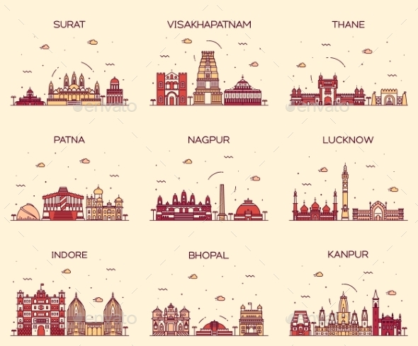 Set Indian Cities Vector Illustration Linear - Buildings Objects