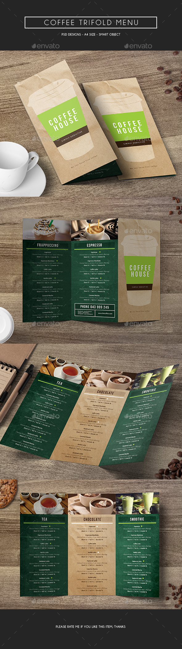 Coffee Trifold Menu - Food Menus Print Templates