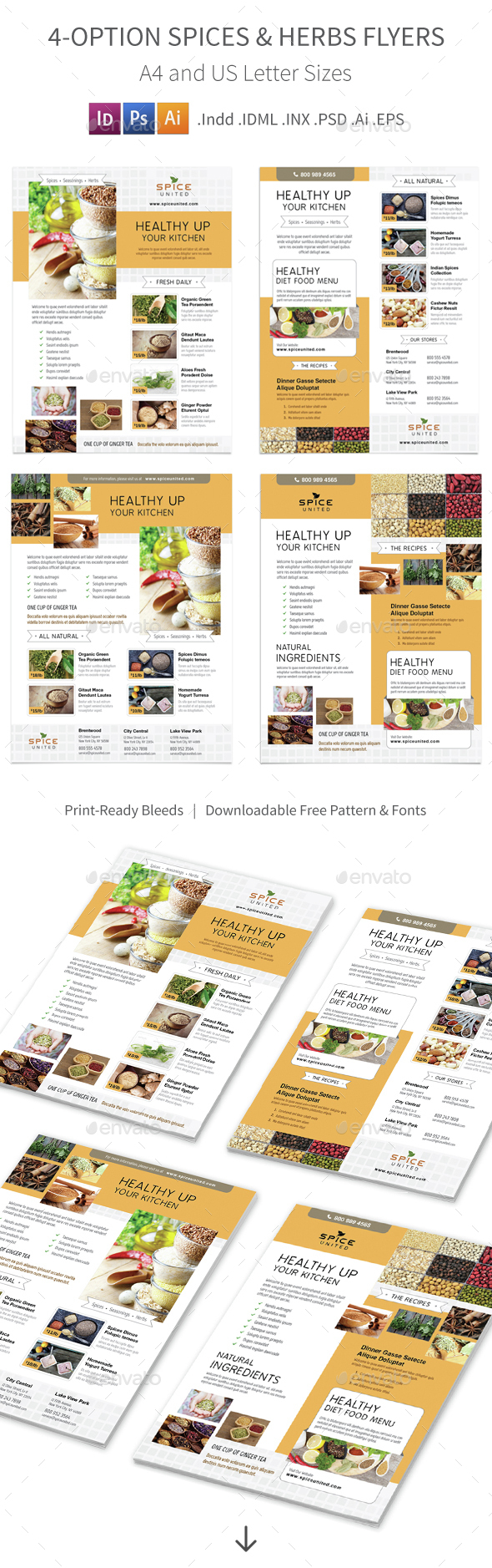 Spices & Herbs Flyers – 4 Options - Corporate Flyers