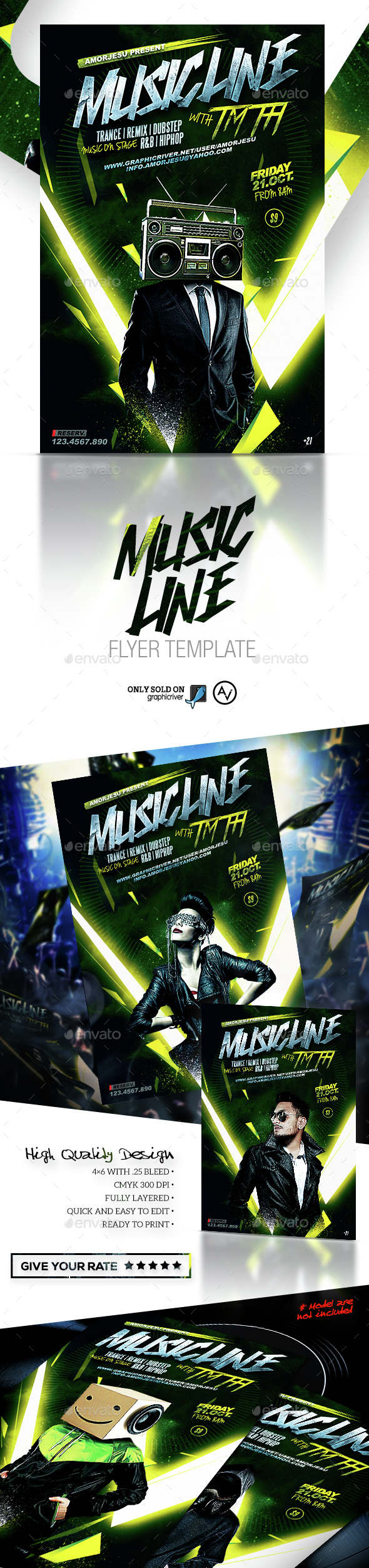 Music Line Flyer Template V1 - Clubs & Parties Events
