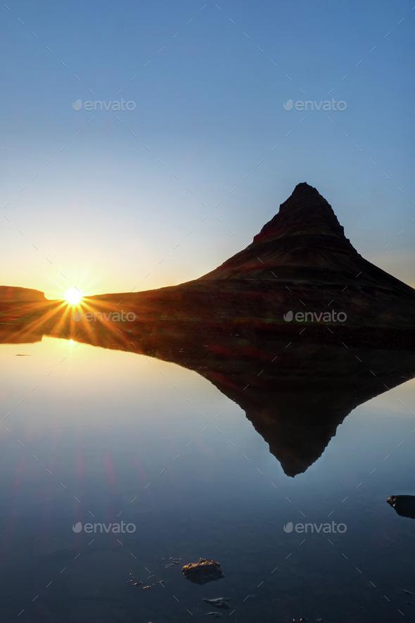 Sunset at Mount Kirkjufell, Iceland - Stock Photo - Images