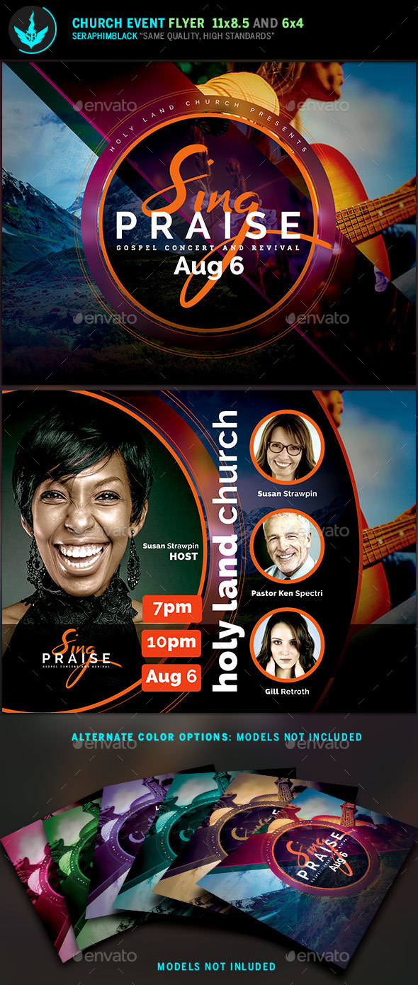 sing praise gospel concert flyer template church flyers