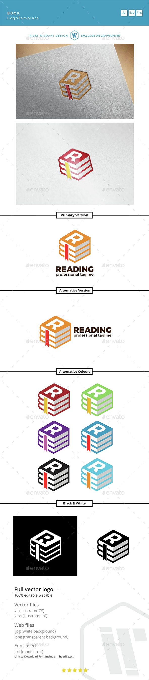 Reading - Logo Book Template - Symbols Logo Templates