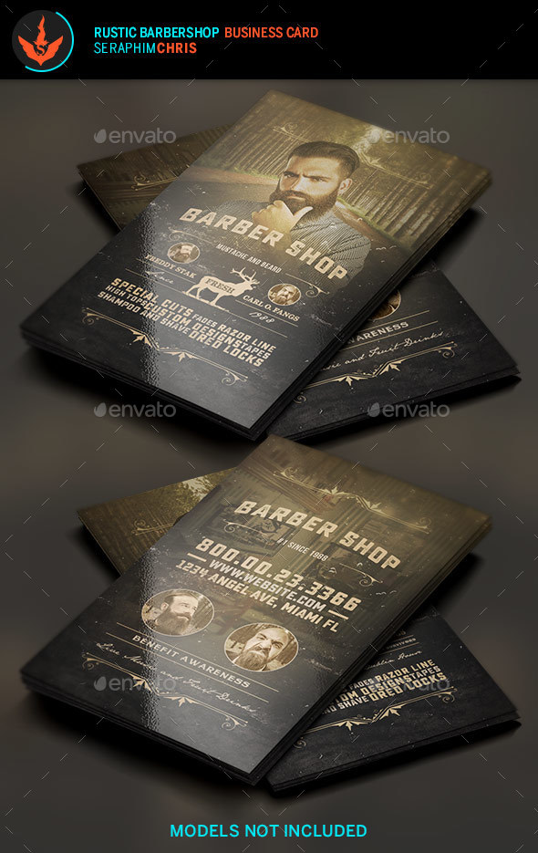 Rustic barbershop business card template by seraphimchris graphicriver rustic barbershop business card template business cards print templates flashek