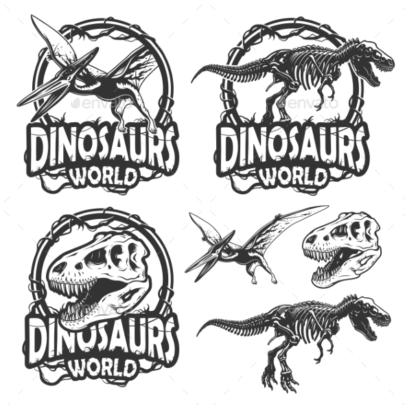 Set Of Dinosaurs World Emblems - Monsters Characters