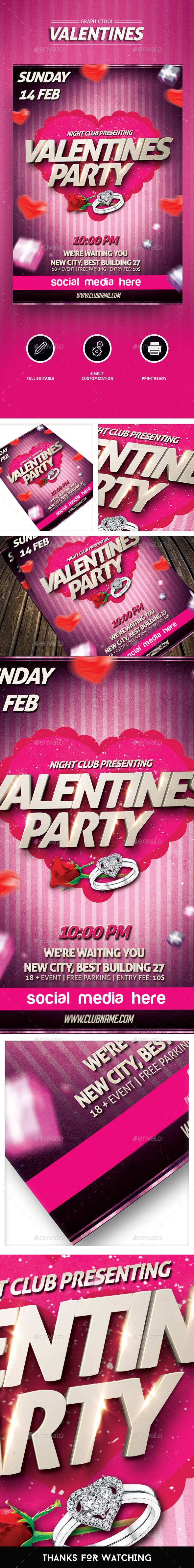 Valentine's Day Flyer/Valentines Poster - Events Flyers