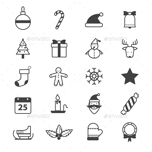 Christmas Party Icons Line - Seasonal Icons