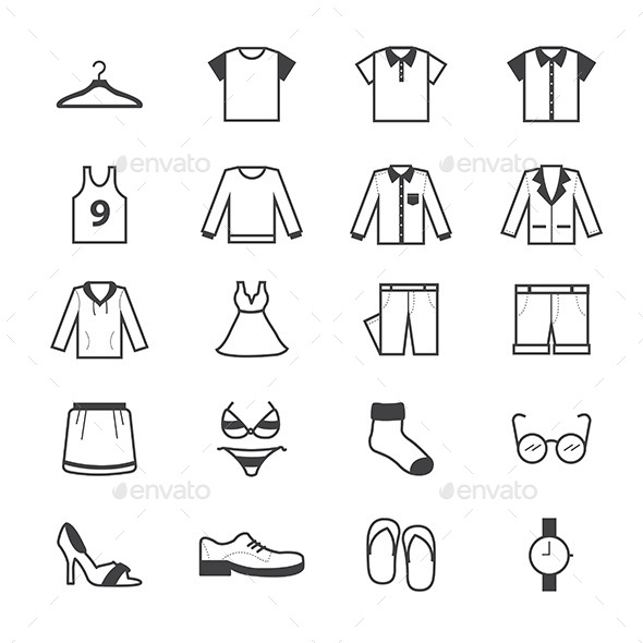Cloth and Accessory Icons Line - Objects Icons