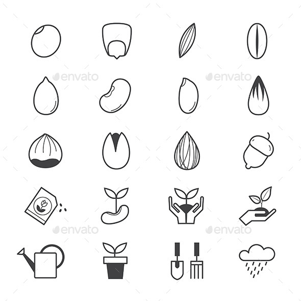 Seeds and Gardening Icons Line - Icons