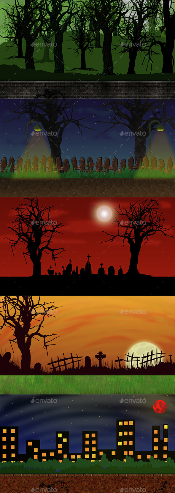 Creepy Backgrounds for Zombie Games - Backgrounds Game Assets