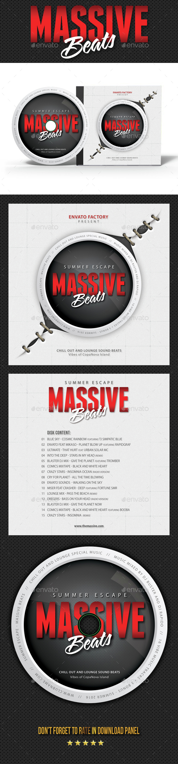 Massive Party Event CD Cover Artwork - CD & DVD Artwork Print Templates