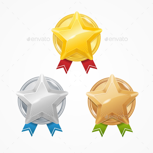 Medals with Stars Set. Vector - Objects Vectors