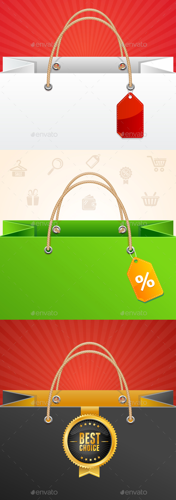 Paper Bag Background Sale. Vector - Commercial / Shopping Conceptual