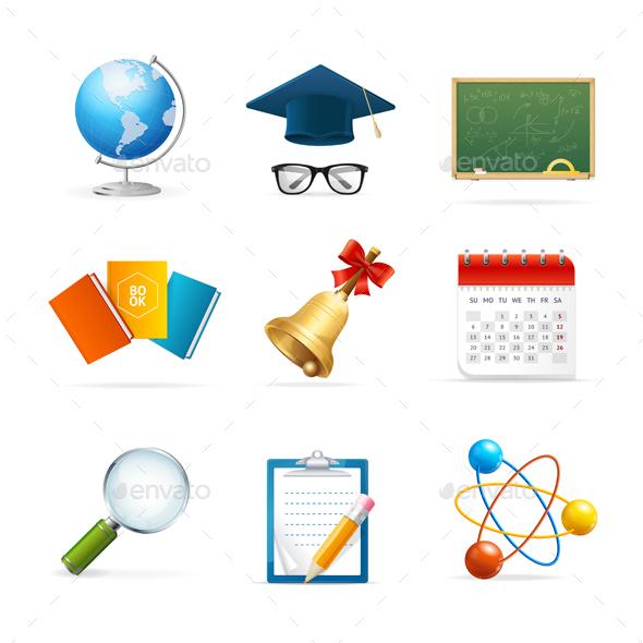 Colorful School Icon Set. Vector - Web Elements Vectors