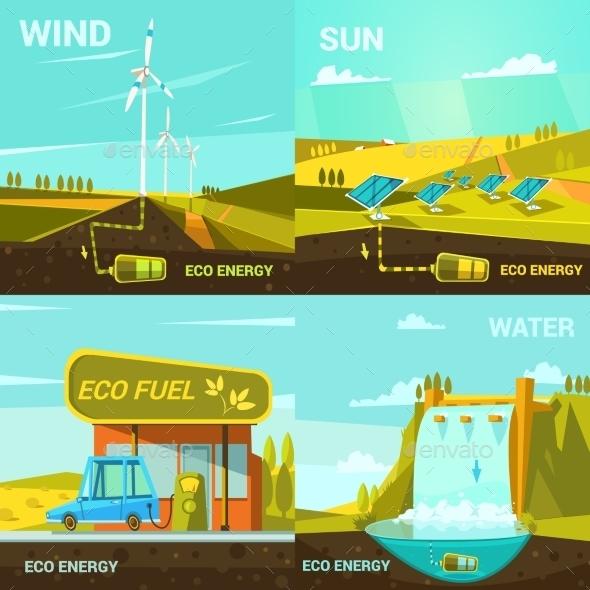 Ecological Energy Cartoon Set - Abstract Conceptual
