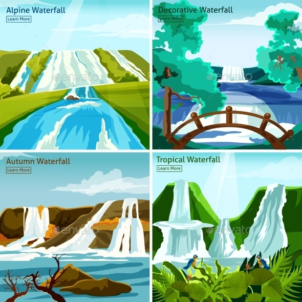 Waterfall Landscapes 2X2 Design Concept - Landscapes Nature