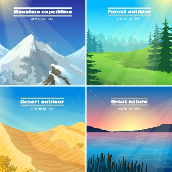 Camping Landscapes 4 Flat Icons Square - Nature Conceptual