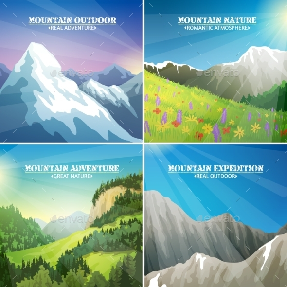 Mountain Landscapes 4 Flat Icons Square - Landscapes Nature