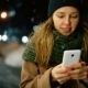 Woman Use Mobile Phone In City At Night - VideoHive Item for Sale