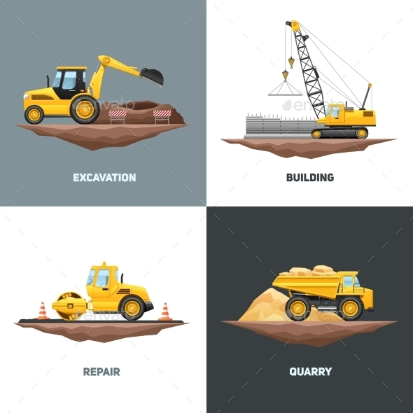 Construction Machinery 4 Flat Icons Square - Industries Business