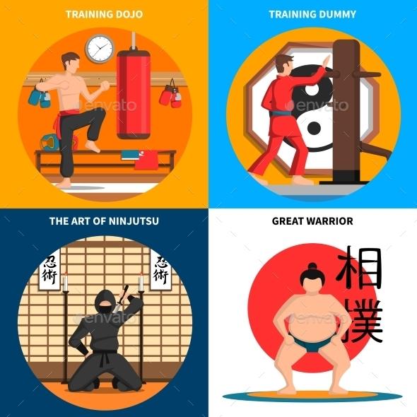 Martial Arts Concept Icons Set - Sports/Activity Conceptual