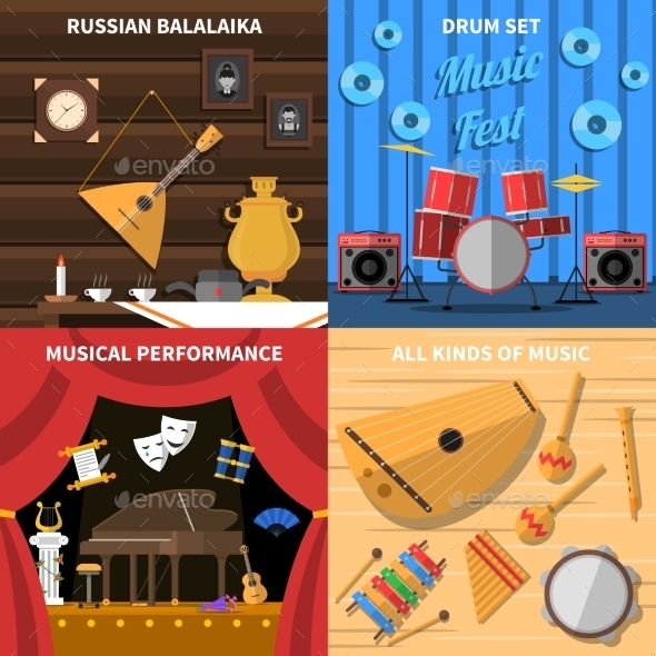 Musical Instruments Concept Icons Set - Man-made Objects Objects