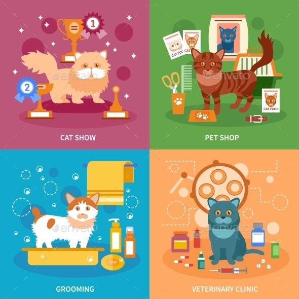 Cats Concept Set - Animals Characters