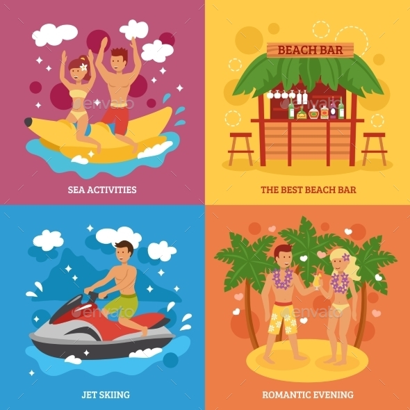 Beach Icons Set - Sports/Activity Conceptual