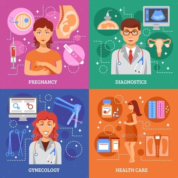 Pregnancy Icons Set - Health/Medicine Conceptual
